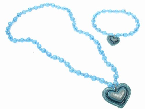 Glitz4Girlz Girls Blue Beaded Heart Jewellery Set