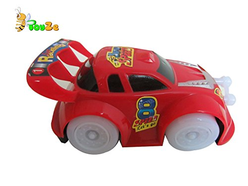 ToyZe® Bump and Go Action, Red Toy Car Vehicle with Flashing Green and Blue Lights, Sounds and Music