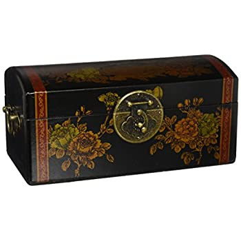 Black Lacquer Flowers Jewelry Box