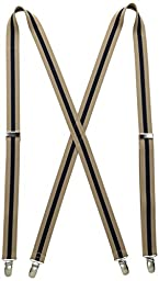Levi\'s Men\'s 1 Inch Striped Suspenders, Tan/Navy, One Size