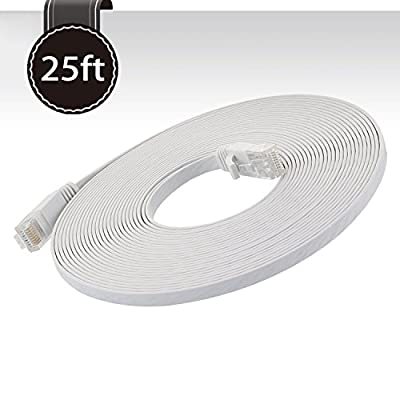 Ethernet Cable Cat 6 25ft (at A Cat5e Price but Higher Bandwidth) Network Cable Cat6 - Ethernet Patch Cable - Computer Internet Cable With Snagless RJ45 Connectors -Enjoy High Speed Surfing - White