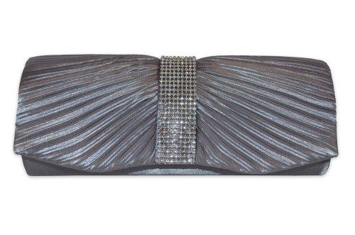 Mimi & Thomas Designer Silver Grey Pleated Satin Crystal Diamonte Panel Evening Clutch Handbag