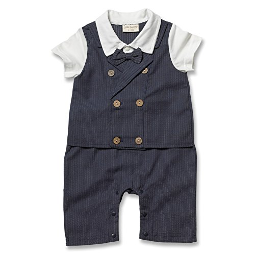 Little Youngster Baby-Boys Infant Double Button Vest And Bow Tie, Polo Romper, Navy, 3-6 Months