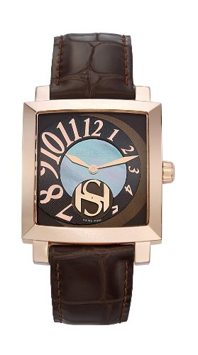 Saint Honore Women's 863017 8YMBR Orsay Rectangular Rose Gold Plated Mother-Of-Pearl Brown Watch