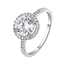buy Hearts & Arrows Ideal Cut Swiss Cubic Zirconia Diamond Halo Engagement Ring (8)