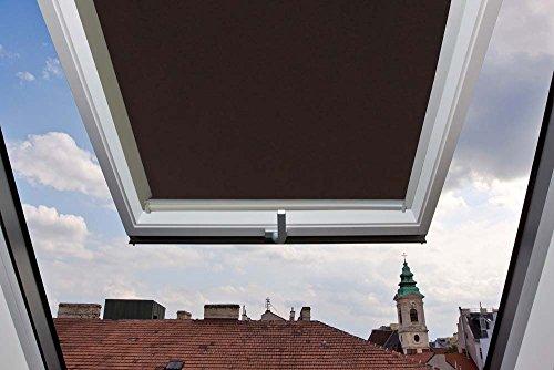 Für Velux Fenster GGU / GGL / GPU / GPL / GHU / GHL / GTU / GTL / GXU / GXL 306 M06 Dachfensterrollo, Verdunkelungsrollos in Dunkelbraun - L.60,7xH.93,4- passend zum Fensterrahmen L.78 x H.118cm mit seitlichen Führungsschienen aus Aluminium