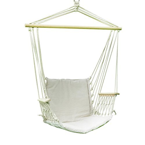 SUMMER-LIMITED-DEAL-Adeco-Cotton-Fabric-Canvas-Hammock-Chair-Tree-Hanging-Suspended-Outdoor-Indoor-Bed-Natural-Color-20-Wide-Seat