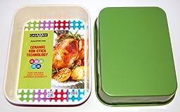 casaWare Ceramic Coated NonStick Lasagna/Roaster Pan 13 x 10 x 3-Inch (Cream/Green)