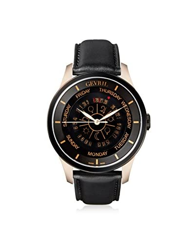 Gevril Men's 2004 Columbus Circle Black Leather Watch