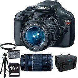 Canon EOS Rebel T3 12.2 MP CMOS Digital SLR Camera with EF-S 18-55mm f/3.5-5.6 IS II Zoom Lens &amp; EF 75-300mm f/4-5.6 III Telephoto Zoom Lens + 16GB Deluxe Accessory Kit
