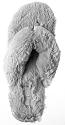Beverly Rock Woman\'s New Plush Satin Spa Thong Slipper Grey L (7.5 - 8.5 US)