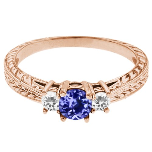 0.58 Ct Round Blue Tanzanite White Topaz 14K Rose Gold 3-Stone Ring