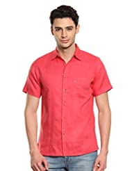 Men Red Linen Half Sleeves Shirt