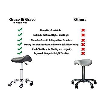 Grace & Grace Professional Saddle Stool Series Hydraulic Swivel Comfortable Ergonomic with Heavy Duty Metal Base for Clinic Dentist Spa Massage Salons Studio (Black)