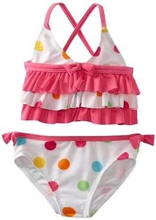 ABSORBA Baby Girls' Multi Dot Swimsuit Two Piece, Multi, 24