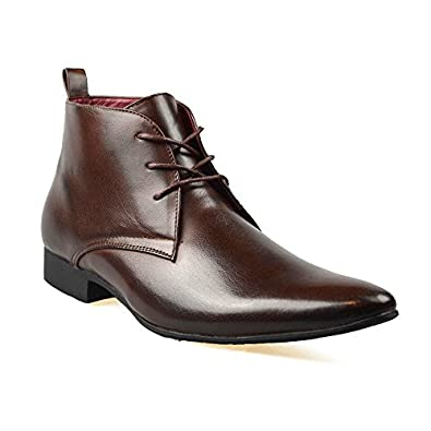 Mens Black Leather Smart Formal Casual Lace Up Boots Shoes UK SIZE 6 7 8 9 10 11 (UK 7 (41), Brown)