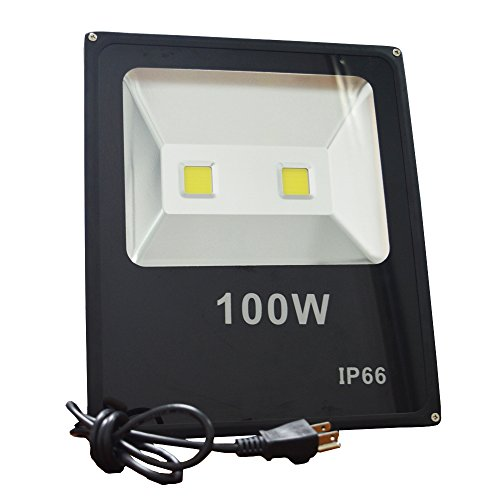 ZHMA 100W LED Flood Lights,2X50W LED CHIP Floodlight With US 3-Plug,250W HPS Bulb Equivalent,Daylight White, 6000K, Waterproof Security Lights (100w Led Flood Light compare prices)