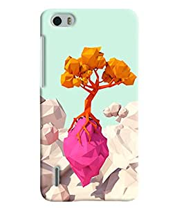 Blue Throat Tree Made Of Paper Hard Plastic Printed Back Cover/Case For Huawei Honor 6