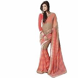 Starmart Womens Cotton Straight Dress Material Lt Saffron Georgette Sarees 42014
