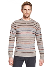 Blue Harbour Pure Lambswool Crew Neck Striped Jumper