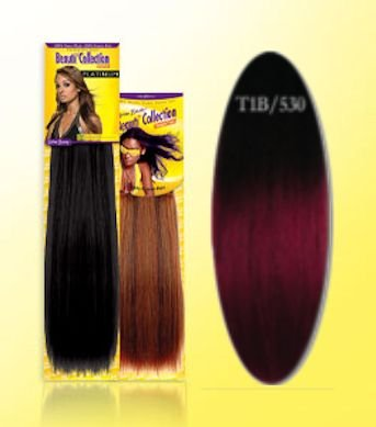 Beauti-Collection-Human-Hair-Weave-Yaki-Weave-14-T1B530-Two-Tone-Burgundy-Size-14