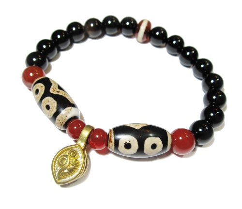Harmony Twin Tibetan 3 Eyed Protection Dzi Bead Bracelet with 8mm Black Agate Beads and Tibetan Brass Malas Counter Clips - Feng Shui Balanced Energy