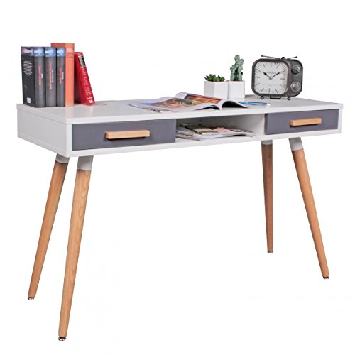 finebuy schreibtisch mdf retro holztisch 120cm breit schubladen wei b ro tisch design. Black Bedroom Furniture Sets. Home Design Ideas