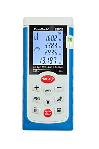 PeakTech-hochwertiges-LASER-Entfernungsmessgert-005M--80-M-mit-Beleuchteter-LCD-Anzeige-und-Wasserwaage-1-Stck-P-2802