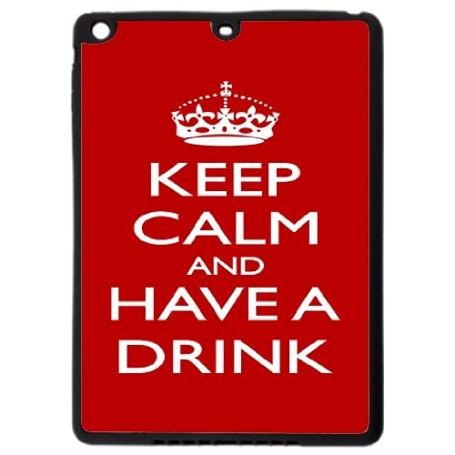 Rikki KnightTM Keep Calm and have a Drink - Red Design Black Cover Case for iPad Air - TPU Hard Rubber Case with Durable Front Bumper Protection coupons 2015