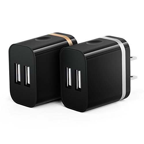 OKRAY 2A 10W Colorful Portable Dual USB Travel Wall Home Charger Power Adapter Plug for iPhone SE 6s Plus, iPad Air, Samsung Galaxy, Android, HTC, LG, Google Nexus, Nokia ( 2 Pack, Gold Silver) (Unit Iphone Case compare prices)