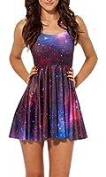 New Sexy Womens Galaxy Cartoon Adventure Time Sleeveless Pleated Skater Dress