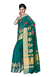 Laethnic green floral design chanderi saree