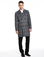 Autograph Wool Blend Double Breasted Prince of Wales Checked Long Coat