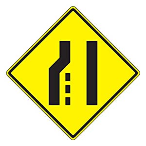 MUTCD W4-2L Left Lane Ends Sign, 3M Reflective Sheeting, Highest Gauge Aluminum,Laminated, UV Protected, Made in U.S.A
