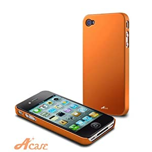 Acase(TM) Superleggera sunset fit case foriPhone 4 with 2 Screen Protector (Orange)