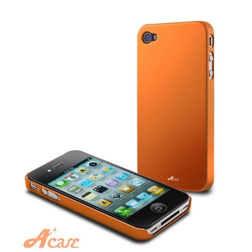Acase(TM) Superleggera sunset fit case foriPhone 4 with 2 Screen Protector (Orange) AT&T Only