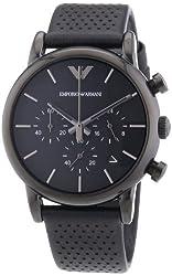 Emporio Armani Classic Chronograph Black Dial Black Leather Mens Watch AR1737