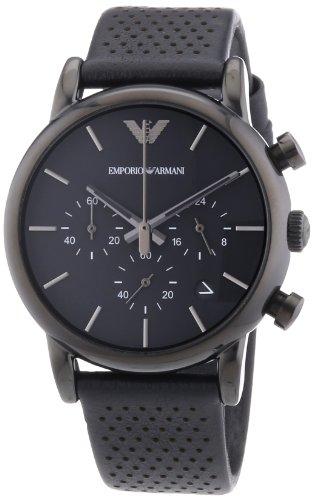 Emporio Armani  AR1737 - Reloj de cuarzo para hombre, con correa de cuero, color negro