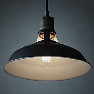 YOBO Lighting Industrial Edison Antique Hanging Pendant Light with Metal Dome Shade, Matte Black