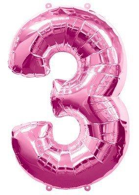 (1) Number Three #3 3rd PINK Girl Birthday Party Figure Mylar Balloon JUMBO 34