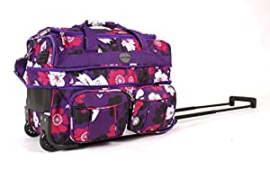 "18"" KS-EX-FP-100 PURPLE FLOWERS Expandable Cabin Sized Wheeled Holdall"
