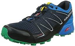 Salomon Men\'s Speedcross Vario Trail Running Shoe, Deep Blue/Methyl Blue/Real Green, 10.5 D US