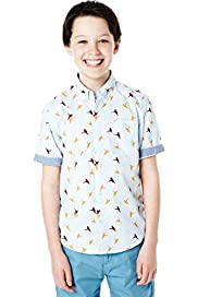 Pure Cotton Short Sleeve Hummingbird Print Shirt