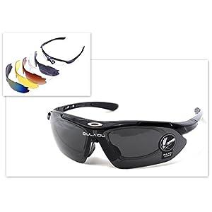 レンズ5枚 スポーツ サングラス UV400 紫外線カット 防弾 サバゲーにも