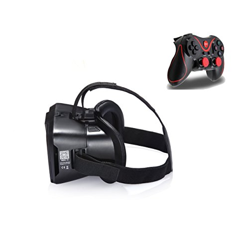 eimolife® 2015 NEW UPDATED! Black Real HD 3d Experience Bluetooth Gamepad Rocker VIRTUAL REALITY CARDBOARD TOOLKIT...