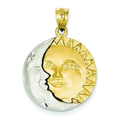 14K Two Tone Gold Sun & Moon Charm Pendant Jewelry