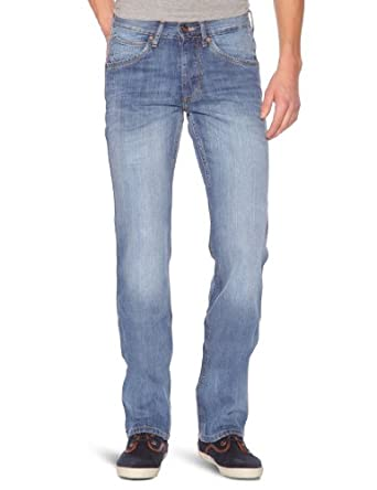 Wrangler - Ace - Jean - Coupe Droite - Used - Homme - Bleu (Longhorn) - FR : W36/L32 (Taille fabricant : W36/L32)