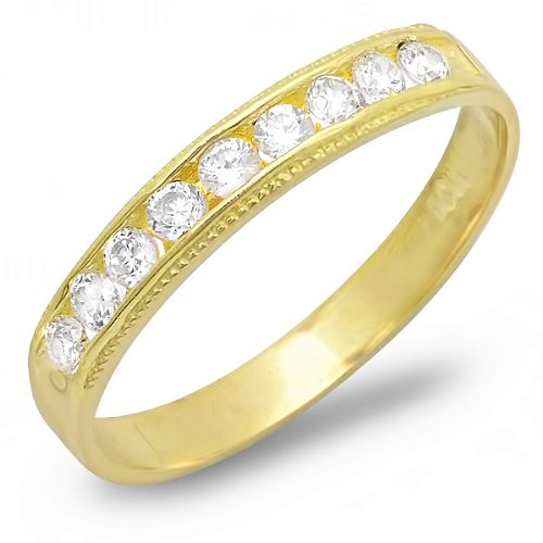 10k Yellow Gold Round Cubic Zirconia CZ Ladies Engagement Bridal Wedding Ring Stackable Anniversary Band