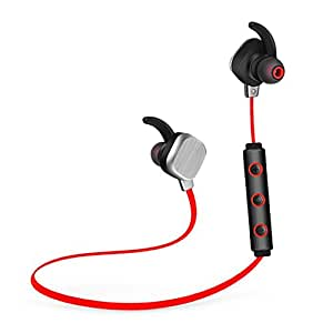 Bluetooth Headset,Bluetooth Headphones,Stereo Hi-Fi CD Sound Noise Isolating Wireless Bluetooth Earbuds for Running,Sweatproof Bluetooth Sport Earphones with Super Bass(Red)