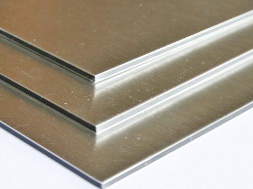 Aluminium Verbundplatte - 3mm - ALUMINUM/GEBÜRSTET - 0,15mm - 200mm x 200mm